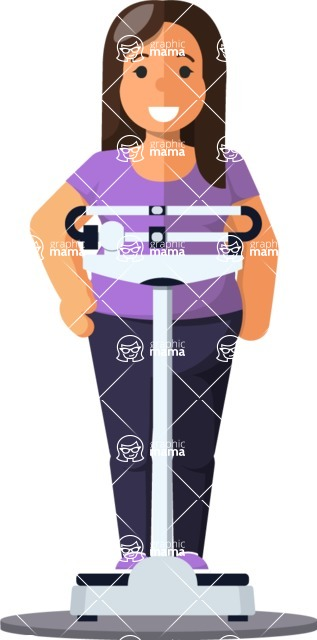 Health & Diet: Overweight People - Woman on Weighing machine
