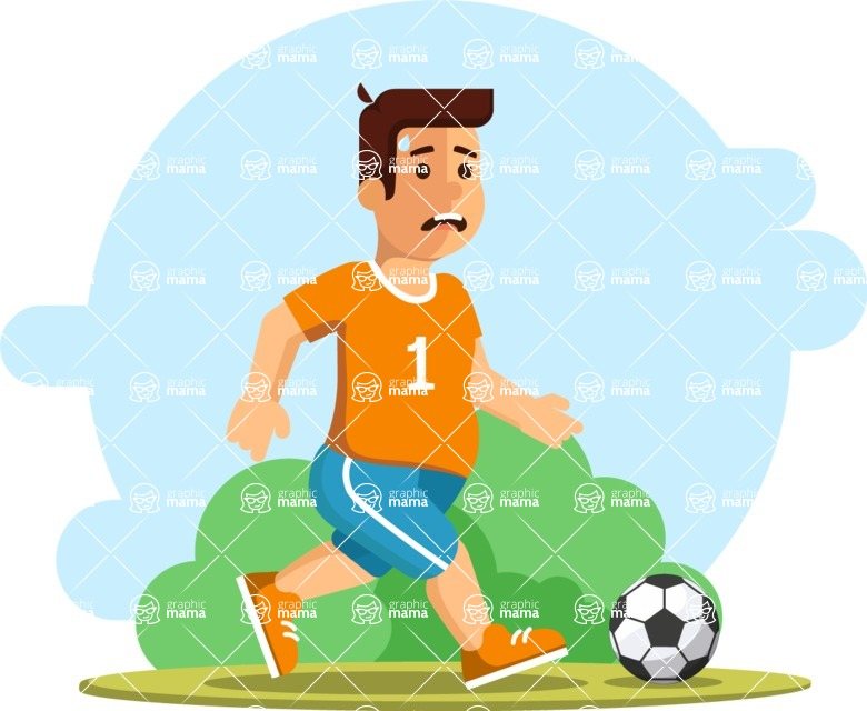 Gym and Diet Vectors - Mega Bundle - Tired Man Playing Soccer