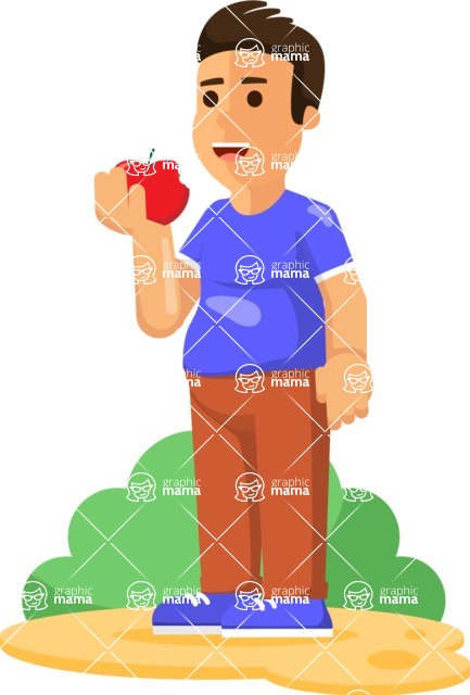 Health & Diet: Overweight People - Man Eating an Apple