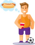 Gym and Diet Vectors - Mega Bundle - Man Thinking About Junk Food