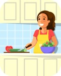 Health & Diet: Overweight People - Woman Cooking Healthy