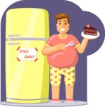 Gym and Diet Vectors - Mega Bundle - Man Eating Cake Next to Fridge