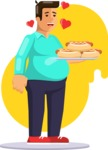 Health & Diet: Overweight People - Man with Hot Dogs