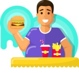 Health & Diet: Overweight People - Man Eating a Burger
