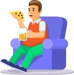 Gym and Diet Vectors - Mega Bundle - Man on Couch Drinking Beer Eating Pizza