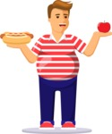 Health & Diet: Overweight People - Man Healthy vs Unhealthy Food