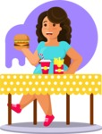 Gym and Diet Vectors - Mega Bundle - Woman Eating Junk Food