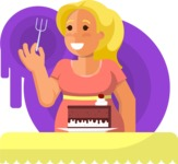 Gym and Diet Vectors - Mega Bundle - Woman Eating a Cake