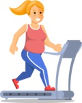 Gym and Diet Vectors - Mega Bundle - Woman running on a treadmill