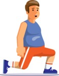 Health & Diet: Overweight People - Man Doing Lunges
