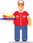 Health & Diet: Overweight People - Man Serving Fast Food