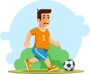 Health & Diet: Overweight People - Tired Man Playing Soccer