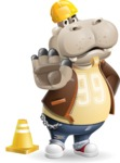 Hippo Cartoon Character - as a Construction worker