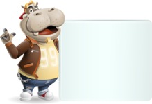 Hippo Cartoon Character - Holding a Blank sign and Pointing