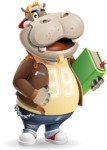 Hippo Cartoon Character - Holding a book