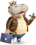 Hippo Cartoon Character - Holding a briefcase