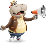 Hippo Cartoon Character - Holding a Loudspeaker