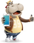Hippo Cartoon Character - Holding a smartphone