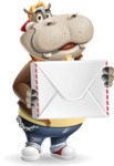 Hippo Cartoon Character - Holding mail envelope