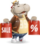 Hippo Cartoon Character - Holding shopping bags