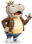 Hippo Cartoon Character - Making a point