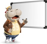 Hippo Cartoon Character - Making a Presentation on a Blank white board