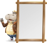 Hippo Cartoon Character - Making peace sign with Big Presentation board