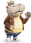 Hippo Cartoon Character - Making stop with a hand