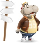 Hippo Cartoon Character - on a Crossroad with sign pointing in all directions