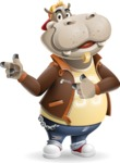 Hippo Cartoon Character - Pointing with both hands