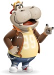Hippo Cartoon Character - Pointing with left hand