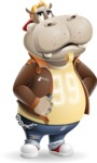 Hippo Cartoon Character - Rolling Eyes
