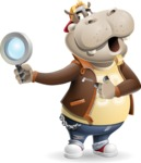 Hippo Cartoon Character - Searching with magnifying glass