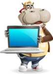 Hippo Cartoon Character - Showing a laptop
