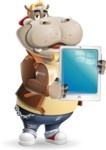 Hippo Cartoon Character - Showing tablet