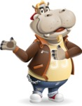 Hippo Cartoon Character - Showing with both hands