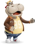Hippo Cartoon Character - Showing with left hand