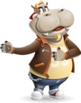 Hippo Cartoon Character - Showing with right hand