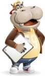 Hippo Cartoon Character - Smiling and holding notepad