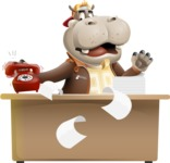 Hippo Cartoon Character - Stressed out