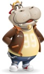 Hippo Cartoon Character - Waiting with hands behind back