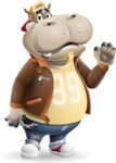 Hippo Cartoon Character - Waving for Goodbye with a hand