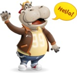 Hippo Cartoon Character - Waving for Hello with a hand