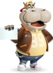 Hippo Cartoon Character - with a Blank Business card