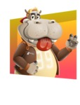 Hippo Cartoon Character - With Abstract Background