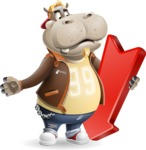 Hippo Cartoon Character - with Arrow going Down