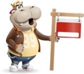 Hippo Cartoon Character - with Blank Real estate sign