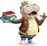 Hippo Cartoon Character - with Books