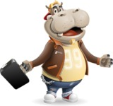 Hippo Cartoon Character - with Briefcase