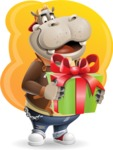 Hippo Cartoon Character - With Bright Background